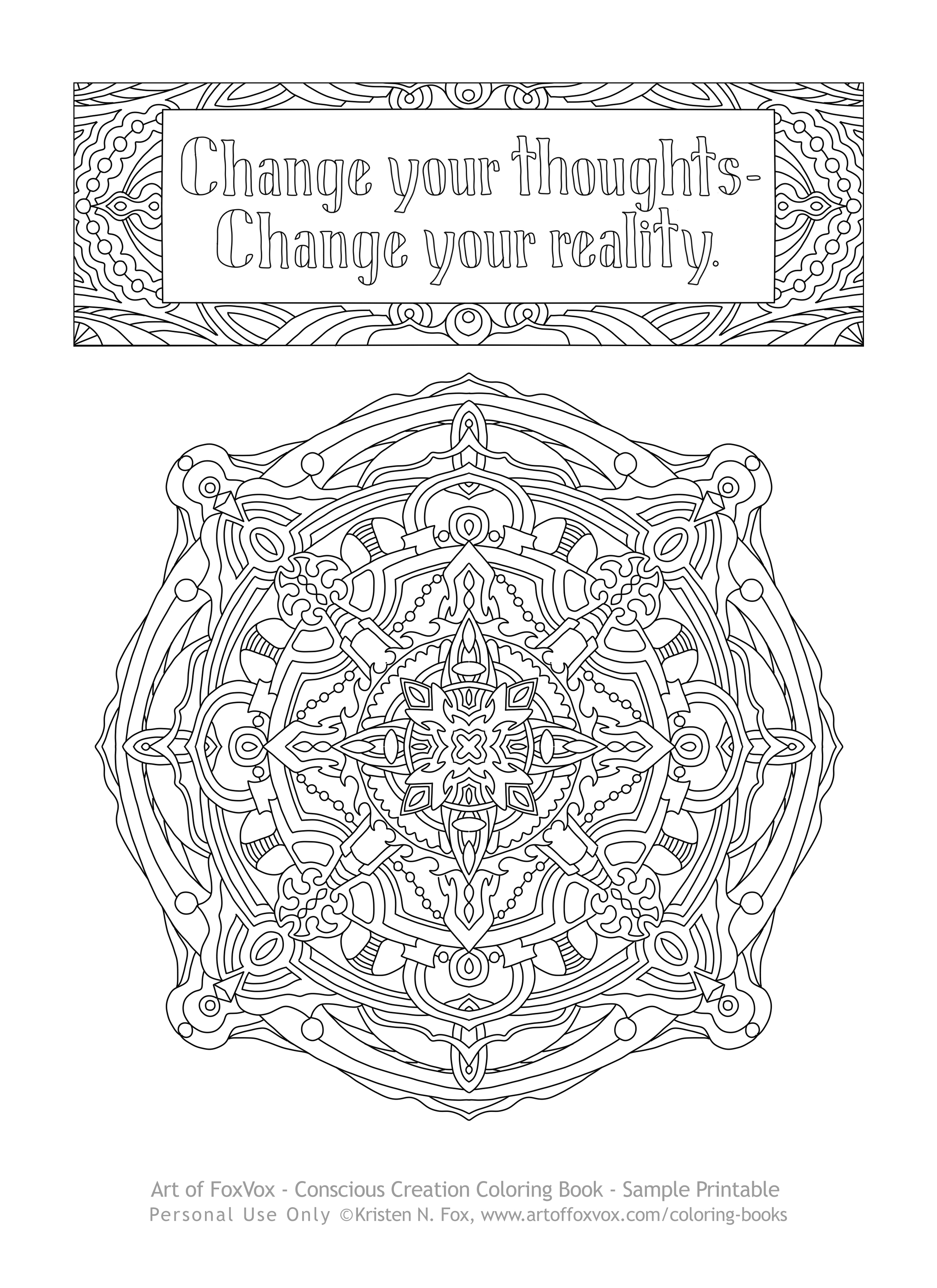 Click Here To See A Sample Page Of The Conscious Creation Coloring Book You Can Print On Your Printer Color