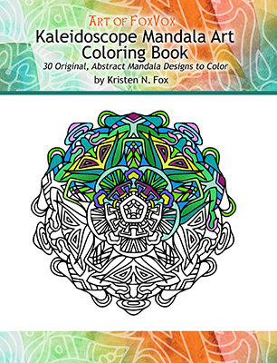 The 30 original abstract mandala styled designs in the kaleidoscope mandala art coloring book