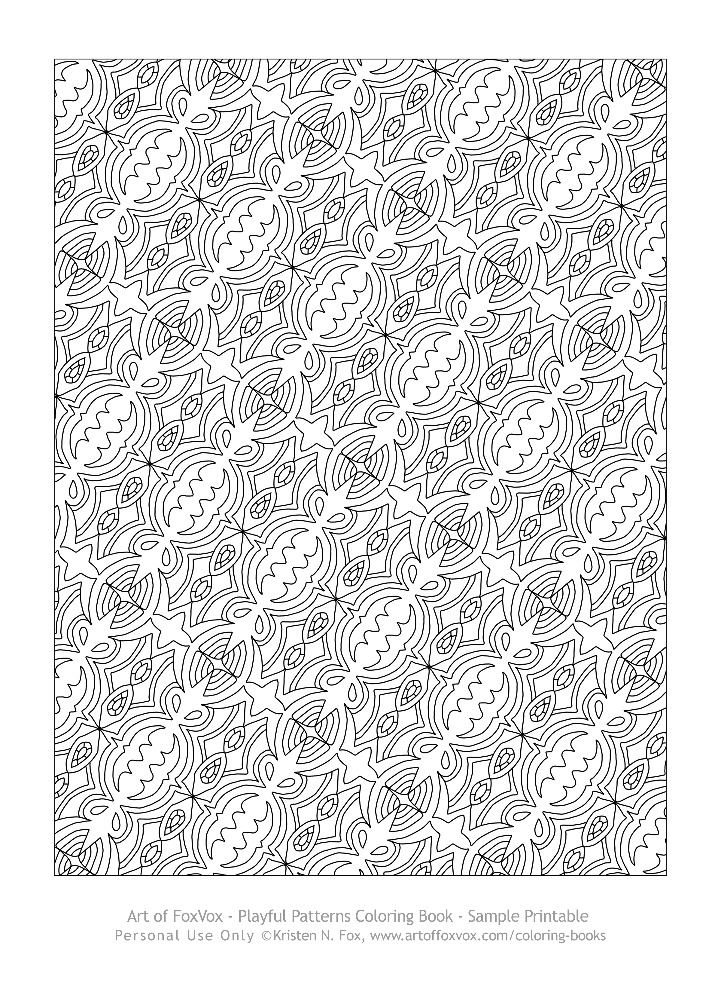 click here to see a sample page of the pleasing patterns travel size coloring book you can print on your printer to color - Coloring Book Patterns