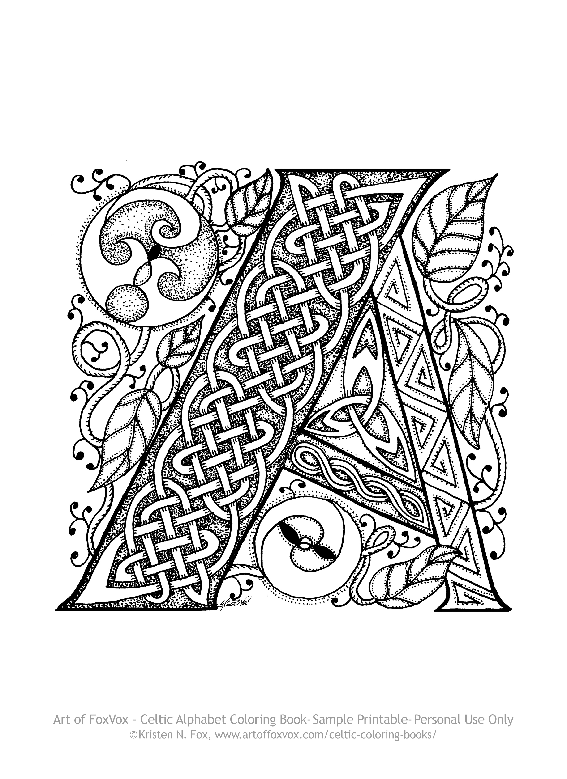 free celtic letter a page to print and color art of foxvox